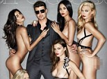 What a treat: Robin Thicke poses on the cover of Treats! magazine with five completely nude models