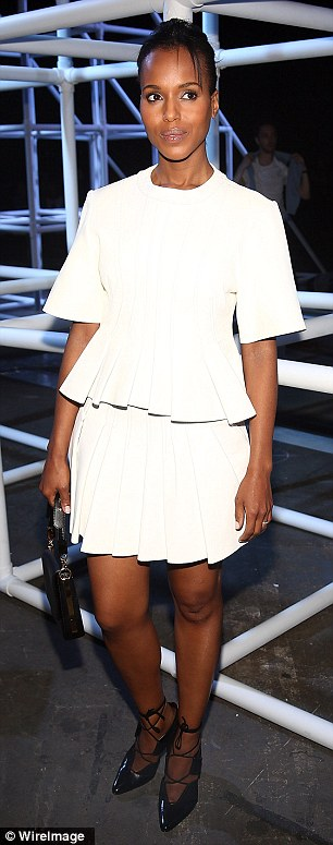 Well-attended show: Zoe Kravitz - pictured left - went bold and bra-less whilst actress Kerry Washington was demure in a white ensemble at the Alexander Wang show