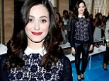 Emmy Rossum wears saucy leather trousers to Tory Burch's NYFW runway show following late-night twerk session