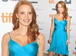 Bombshell in blue! Jessica Chastain raises temperatures as she complements her fiery red hair with a sexy turquoise dress at the Toronto Film Festival