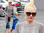 School time: Gwen Stefani on Tuesday took her zoon Zuma to school in Los Angeles in a flowing grey sweater