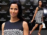 Lovely lady: Padma Lakshmi stunned as she arrived in a simplistic ensemble to Naeem Khan's Spring/Summer 2014 show during Mercedes-Benz Fashion Week in New York City on Tuesday