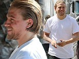 Hollywood star: Charlie Hunnam sported facial cuts on Wednesday on the set Sons Of Anarchy filming in Los Angeles