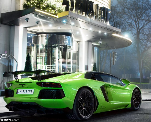 London takeover: Every summer young Arab men spend thousands flying their motors over to the  UK for their annual London holiday ahead of Ramadan, including this Qatari-registered £350,000 Lamborghini Aventador