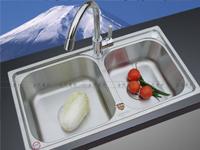 【诺帝卡水槽】诺帝卡珍珠银表面304不锈钢水槽(含龙头+沥水篮+菜板+皂液器)