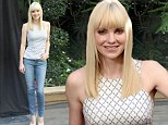 Keeping it cute and casual: Anna Faris displays her very slim figure in a clingy top and jeans to join cast of her new animated movie at photo call