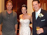 Fancy seeing you here! Brad Pitt posed with a delighted bride and groom at their wedding in Buckinghamshire on Sunday