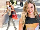 Jean-ius! Hilary Duff displayed her lean legs in the perfect pair of skinny jeans as she ran errands in Sherman Oaks, California on Monday
