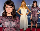 Naughty vs. nice: Tiffani Thiessen, left, hugged her curves in a tight, printed dress, as Doutzen Kroes, right, sported a heavenly white dress