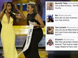 Miss New York Nina Davuluri, center, reacts after being named Miss America 2014 - but faces racist twitter comments
