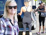 Working it! Reese Witherspoon shows off her pert derriere in exercise tights after a sweaty gym session... just hours before catching a flight out of LA