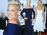 Gwyneth Paltrow and Pink rock ladylike, monochromatic frocks at Thanks for Sharing premiere