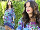'I look so pregnant!': Expectant mother Tammin Sursok tweets about her growing baby bump as she hits the shops