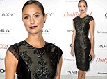 Stacy Keibler vamps it up with wine lips and leathery LBD at the Hollywood Reporter pre-Emmy bash