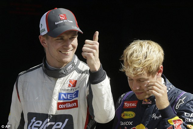 Where did that come from? Hulkenburg (left) fund some tremendous pace, steering his Sauber into third