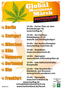 Poster Grafik des Global Marijuana March, Hanftag, in Deutschland