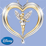 Tinker Bell Believe Pendant Necklace: Disney Jewelry - Tinker Bell Pendant Necklace with Hand-set Swarovski® Crystals! Heart-shaped Jewelry Makes Ideal Disney Gift! Exclusive