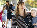 Blue babes! Jennifer Garner and her children Violet and Samuel coordinated in blue ensembles they stepped out in Brentwood, California on Thursday