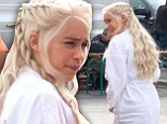 The Mother of Dragons in a dressing gown? Emilia Clarke doesn't look very imposing between takes on Game of Thrones