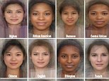 Hundreds of images of women's faces were laid on top of each other and a computer programme created the average