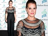 Brooke Shields dons embroidered capelet jumpsuit to Hudson River Park Gala after discussing Andre Agassi divorce