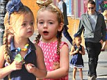 Daddy day: Matthew Broderick took his stylish daughters Marion and Tabitha to school in New York City on Thursday