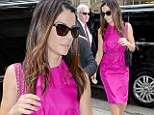 Ray of light! Sandra Bullock brightens the day in fuchsia frock as she continues the promo trail for her new film Gravity