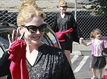 Nicole Kidman parades her pale pins in patterned LBD picking up her daughter Sunday at school