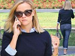 'The Good Lie' actress Reese Witherspoon is spotted at a studio in Santa Monica, California. The blonde actress chatted on her cellphone while sporting a casual blue sweater and jeans.