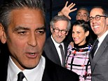 'Back off George!': Clooney the prankster is warned as he photobombs director Steven Spielberg and Jerry and Jessica Seinfeld at charity event