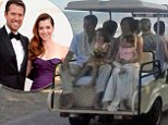 Congrats...again! Alyson Hannigan and Alexis Denisof enjoy golf cart ride with daughters after renewing their vows in Hawaii