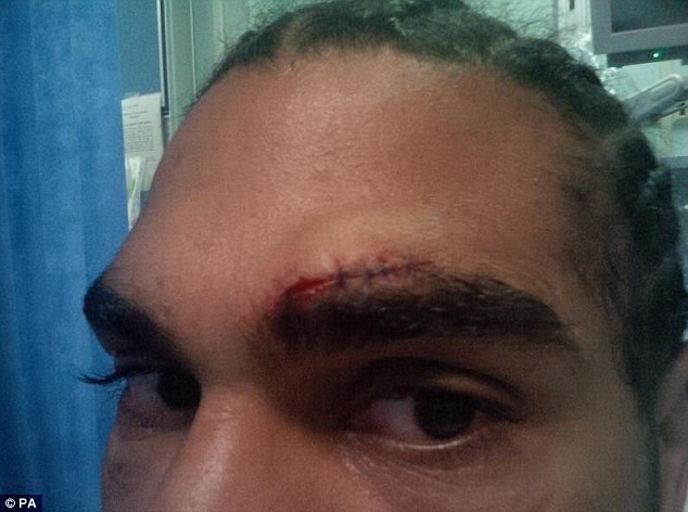 Sore on: Haye suffered a cut in his final sparring session and has taken the chance to relax (below)
