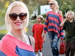 Gwen Stefani dons casual ensemble as Kingston and Zuma dress-up in Halloween costumes for a birthday party