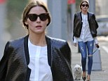 Life's simple pleasures! Olivia Palermo leaves glitzy Paris behind for a leisurely stroll with her beloved pooch Mr. Butler