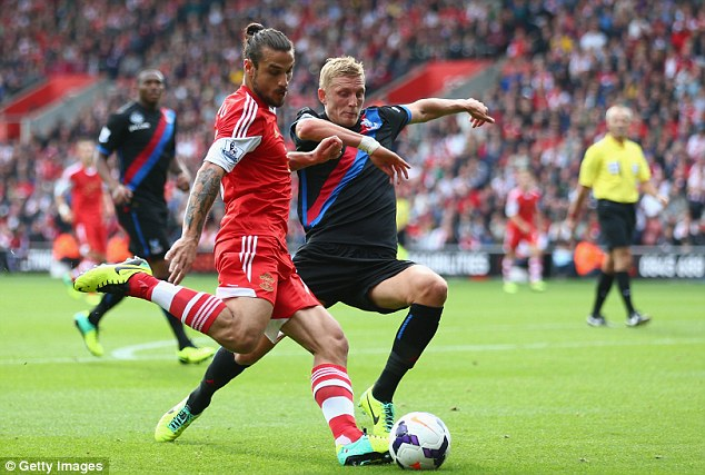 Star signing: Dani Osvaldo found the net for the first time in five appearances for Southampton