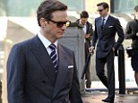 Colin Firth and Taron Egerton pictured for the first time filming The Secret Service in London.