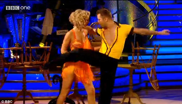 Tangerine dream: Countdown maths whizz Rachel Riley and her partner Pasha Kovalev put their all into their sexy salsa to Get Lucky, but scored just 20 for their routine, with the judges comparing the blonde beauty to a 'rag doll'