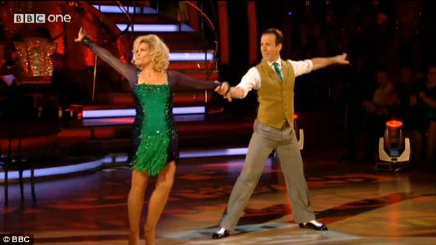 Double-oh heaven? Former Bond girl Fiona Fullerton and her partner Anton Du Beke struggled with nerves throughout her cha cha, which resulted in her kicking him in the shin mid-way through the performance
