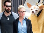 It's a dog's life for Katherine Heigl's husband Josh Kelley as he colour coordinates with their Chihuahua's bag