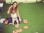 Getting in the holiday spirit: Jessica Alba and daughter Haven decorate their home with handmade pumpkins