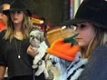 Ashley Benson and dog Olive go to Mr Bones pumpkin patch