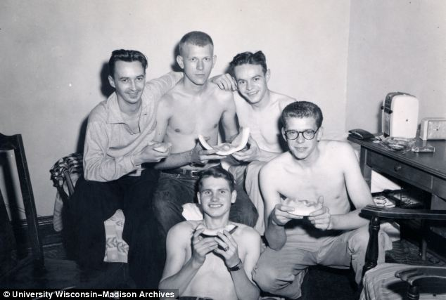 Instead of the beer parties of today's undergraduates, these students are happy with slices of melon
