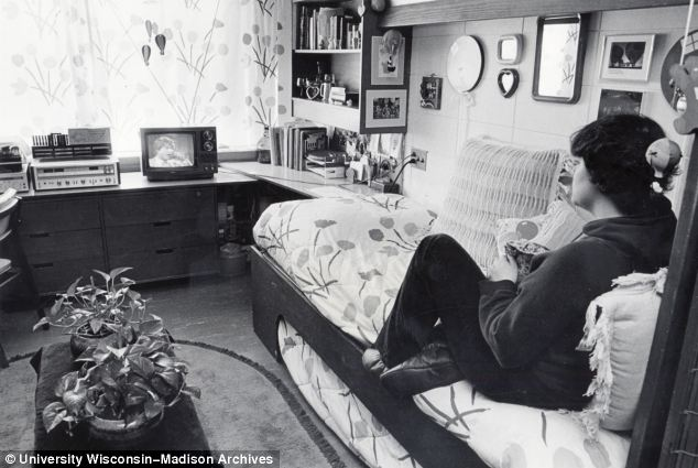 For the first time personal televisions are shown in dorms, which are of course common now