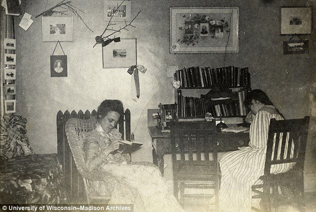Studious: The images show Leila and her roommate engrossed in books