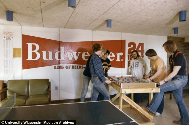 It is not only the flares that show this picture was taken in the 1970s but also the prominence beer is given