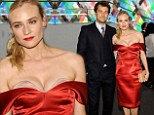 That looks painful! Diane Kruger showcases maximum cleavage in red dress alongside Joshua Jackson