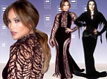 Interesting inspiration: Jennifer Lopez appeared like Morticia Addams at the 17th Annual Human Rights Campaign National Dinner in Washington, DC on Saturday