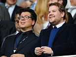 Comedian Michael McIntyre and actor James Corden enjoyed the football action during the Barclays Premier League match between Tottenham Hotspur and West Ham United at White Hart Lane on Sunday afternoon