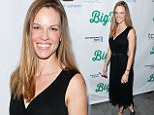 Hilary Swank looks radiant in a simple but effective black dress as she leads the stars at the Broadway opening of Big Fish