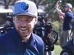 Game on! Justin Timberlake spent Saturday afternoon golfing with male friends at Lakeside Golf Club in Burbank, California